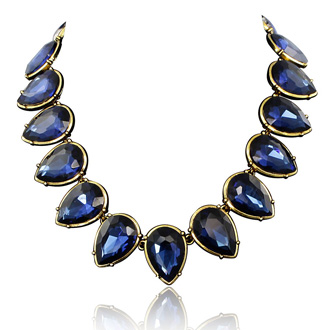 Fine Blue Crystal Pear Strand Necklace, 18 Inches