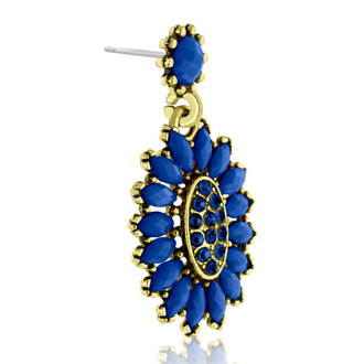 Passiana Cluster Flower Crystal Earrings, Blue