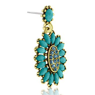 Passiana Cluster Flower Crystal Earrings, Turq