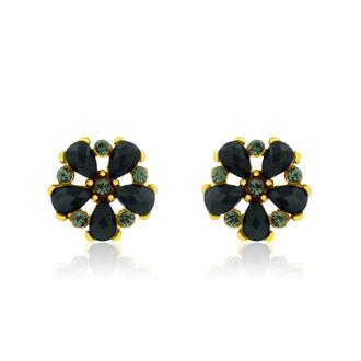 Passiana Dainty Flower Crystal Earrings, Black