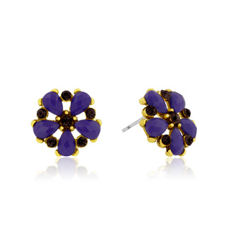 Passiana Dainty Flower Crystal Earrings, Purple