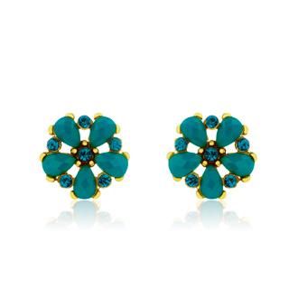Passiana Dainty Flower Crystal Earrings, Turq