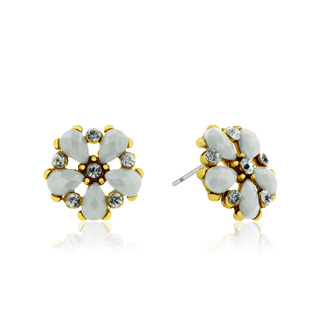 Passiana Dainty Flower Crystal Earrings, White
