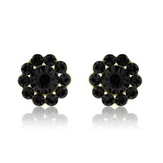 Passiana Mini Flower Crystal Earrings, Black