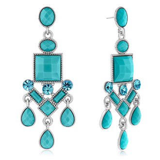 Passiana Chandelier Crystal Earrings, Turq