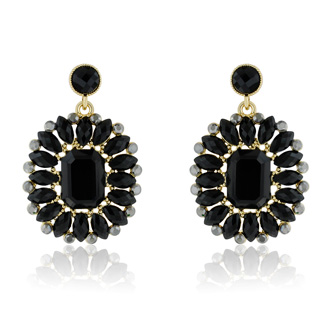 Passiana Midnight Crystal Earrings, Black
