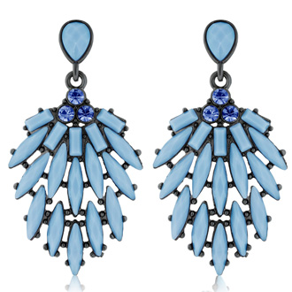 Passiana Cascading Crystal Earrings, Blue