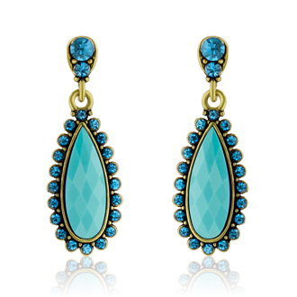 Passiana Drop Crystal Earrings,  Turquoise