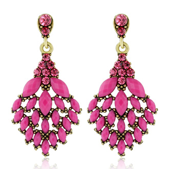 Passiana Cascading Crystal Earrings, Pink