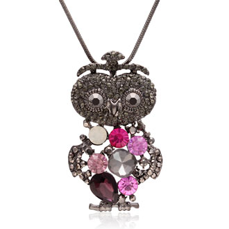 Crystal Opal, Amethyst and Pink Topaz Princess Owl Necklace, 18 Inches
