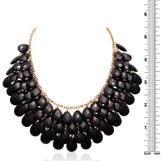Black Onyx Crystal Statement Necklace In Gold Overlay, 18 Inches
