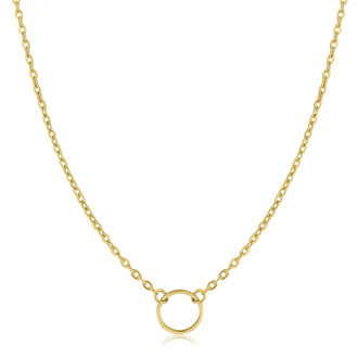 Small Circle Necklace, Yellow Gold