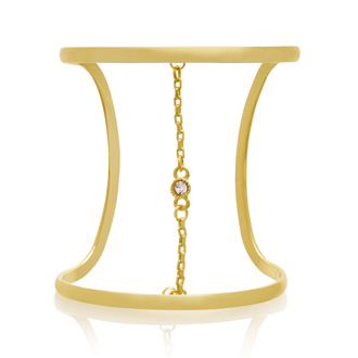 Limited Designer Crystal and Chain Wide Cuff Bangle, Gold Overlay.  We Are Unable To Say The Famous Designer Of This Gorgeous Bangle!