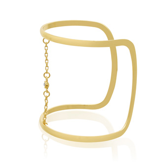 Crystal and Chain Wide Cuff Bangle, Gold Overlay
