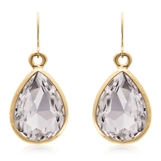 18 Carat Pear Shape Diamond Crystal Earrings, Gold Overlay