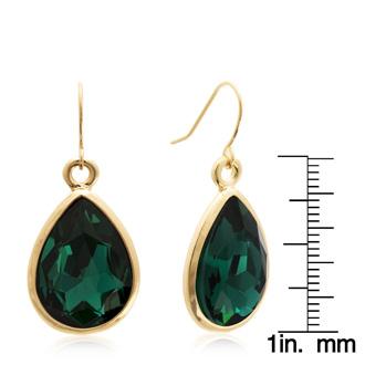 18 Carat Pear Shape Emerald Crystal Earrings, Gold Overlay