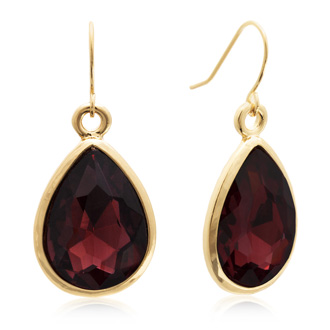 18 Carat Pear Shape Marsala Crystal Earrings, Gold Overlay