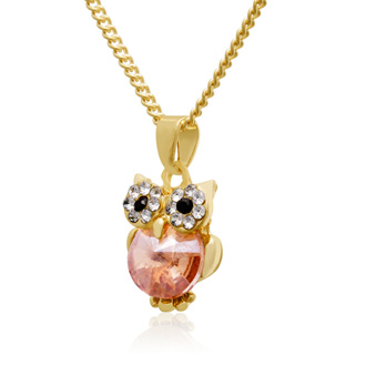 Lemon and White Crystal Dainty Owl Necklace, 16 Inches