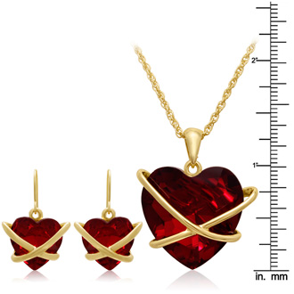 Crystal Ruby Heart Necklace With Free Matching Earrings