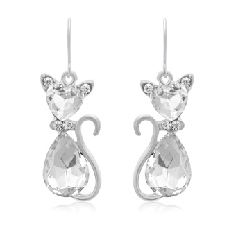 Crystal Cat Necklace with Free Matching Earrings