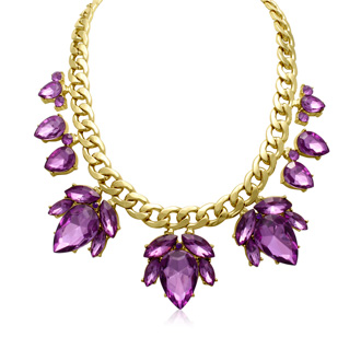 Crystal Purple Amethyst Flower Petal Bib Necklace, Gold Overlay, 17 Inches