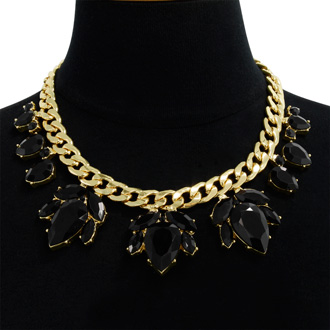 Crystal Black Onyx Flower Petal Bib Necklace, Gold Overlay, 17 Inches
