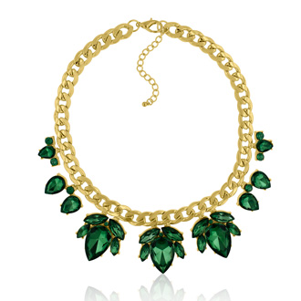 Crystal Emerald Green Flower Petal Bib Necklace, Gold Overlay, 17 Inches