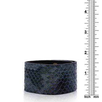 Blue Vegan Snakeskin Leather Cuff Bracelet
