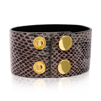 Slate Gray Vegan Snakeskin Leather Cuff Bracelet