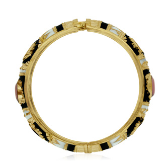 Japanese Inspired Enamel Bracelet In Gold Overlay, 7 Inches