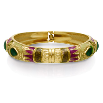 Chinese Inspired Enamel Bracelet In Gold Overlay, 7 Inches