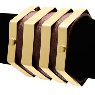 Brown Vegan Leather Geometric Bangle Cuff