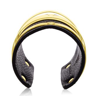 Black Vegan Leather Round Bangle Cuff