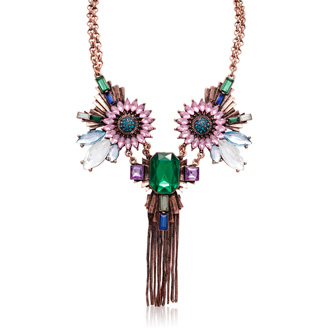 Emerald, Aqua and Amethyst Fantasy Necklace