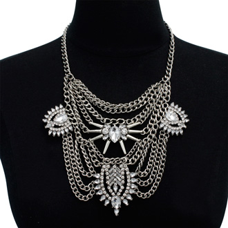 Clear Crystal Chain Bib Necklace