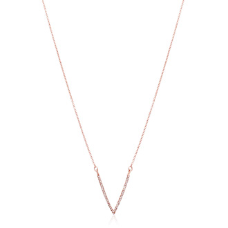 Rose Gold Crystal V Necklace