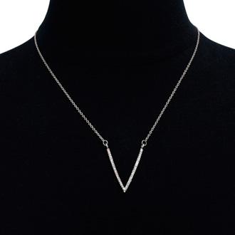 Silver Crystal V Necklace
