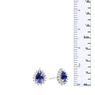 2/3ct Pear Shaped Tanzanite and Diamond Halo Earrings