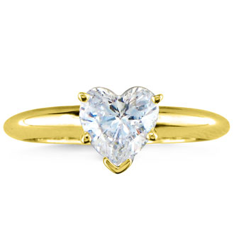 3/4 Carat Heart Shape Diamond Solitaire Ring In 14k Yellow Gold