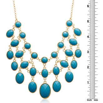Turquoise and Taupe Reversible Bib Necklace, Gold Overlay, 18 Inches