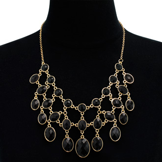 Black and White Reversible Bib Necklace, Gold Overlay, 18 Inches