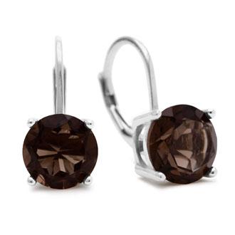 5 Carat Smoky Quartz Leverback Earrings In Sterling Silver