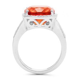 5ct Cushion Cut Created Padparadscha Sapphire and Diamond Ring