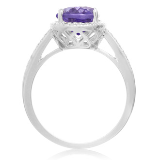 3 Carat Oval Shape Created Tanzanite and Diamond Halo Ring In Sterling Silver