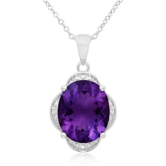 4ct Oval Amethyst and Diamond Necklace