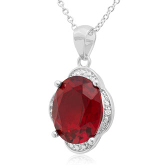 4ct Oval Created Ruby and Diamond Necklace