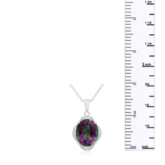 4ct Oval Mystic Quartz and Diamond Necklace
