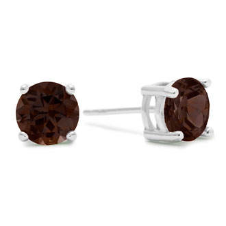 2ct Smoky Quartz Earrings in Sterling Silver