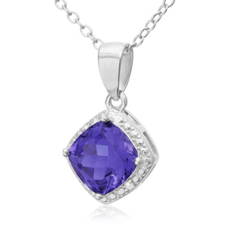 1.75ct Cushion Cut Created Tanzanite and Diamond Necklace
