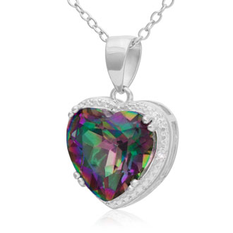 3.75 Carat Mystic Topaz & Diamond Heart Necklace